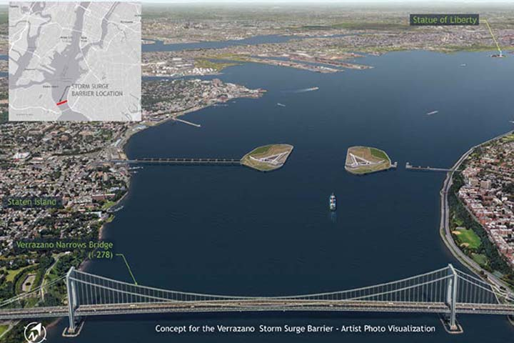Gated storm surge barriers are one option to protect people and property. They typically span the opening of a harbor or river mouth, with gates that close when storm surge is expected. This artist rendering shows a surge gate being considered in the New York-New Jersey harbor.