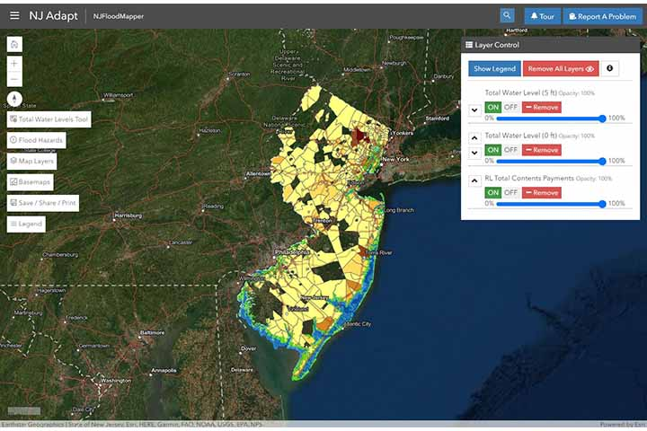 NJ Flood Mapper is a user-friendly web tool that allows planners to evaluate a range of flood conditions and time horizons.