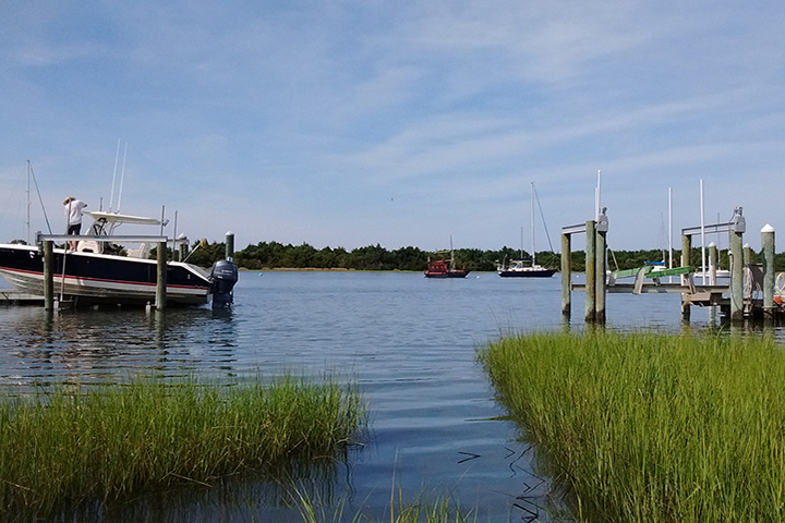 A view of Taylor's Creek and the Rachel Carson Reserve from the Town of Beaufort.