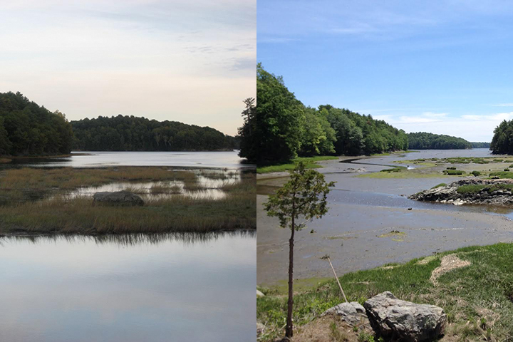 Climate change and sea level rise threaten salt marshes in New England and other coastal regions. Photos from 2008 (left) and 2018 (right) show loss of marsh at Crommet Creek, Great Bay, NH.