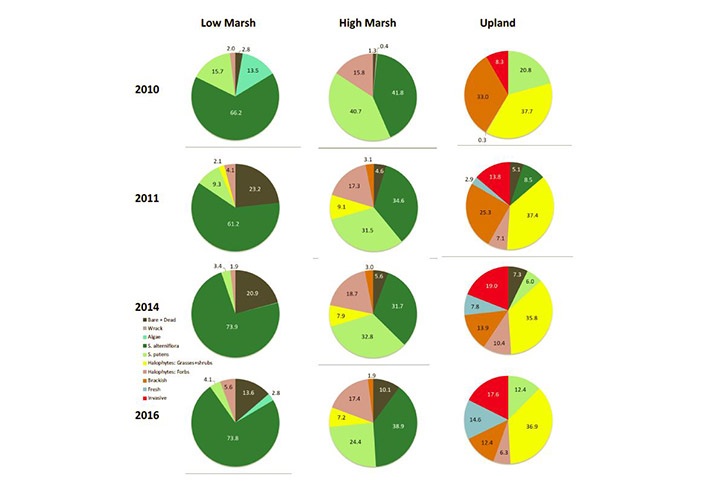 The project created standardized data packages, reports and visualizations, such as these pie charts showing plant community changes from 2010 to 2017.