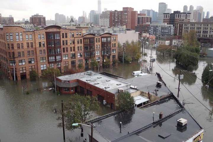 Coastal cities are increasingly vulnerable to massive flooding during extreme storms as a result of climate change. Flooding in Hoboken, NJ, October 2012. Photo credit: US Army Corps of Engineers.