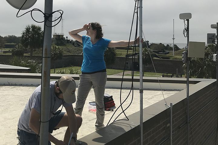 Stewardship Biologist and Technical Coordinator for the project, Matthew King, helping partner SC Audubon install Motus Wildlife Tracking System at Fort Moultrie in Charleston, SC
