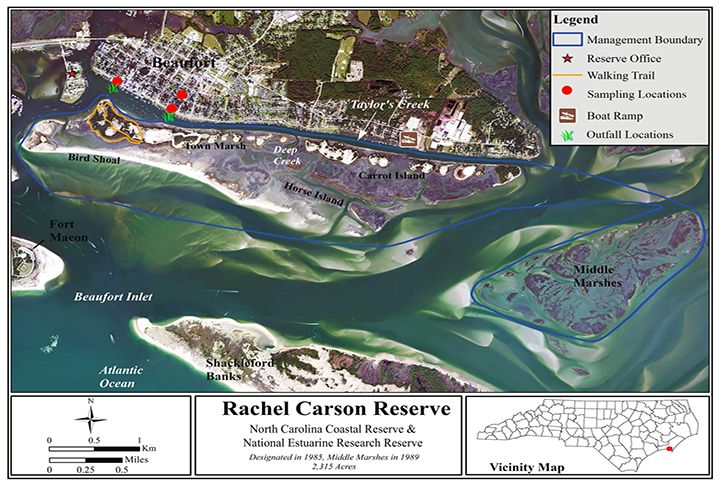 Map of the Rachel Carson Reserve, Taylor's Creek and the Town of Beaufort