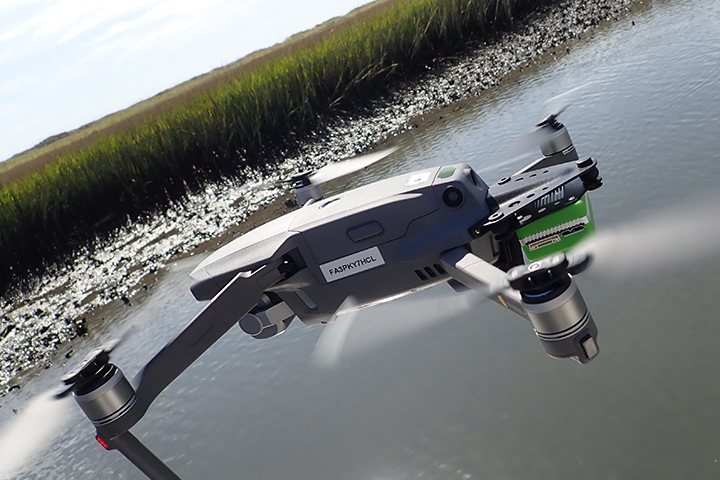 Many NERRs have been experimenting with the use of drones but lack a standardized protocol. (Photo credit: Brandon Puckett)